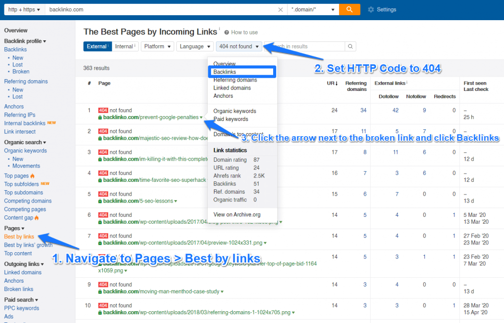 Best by links Ahrefs broken link