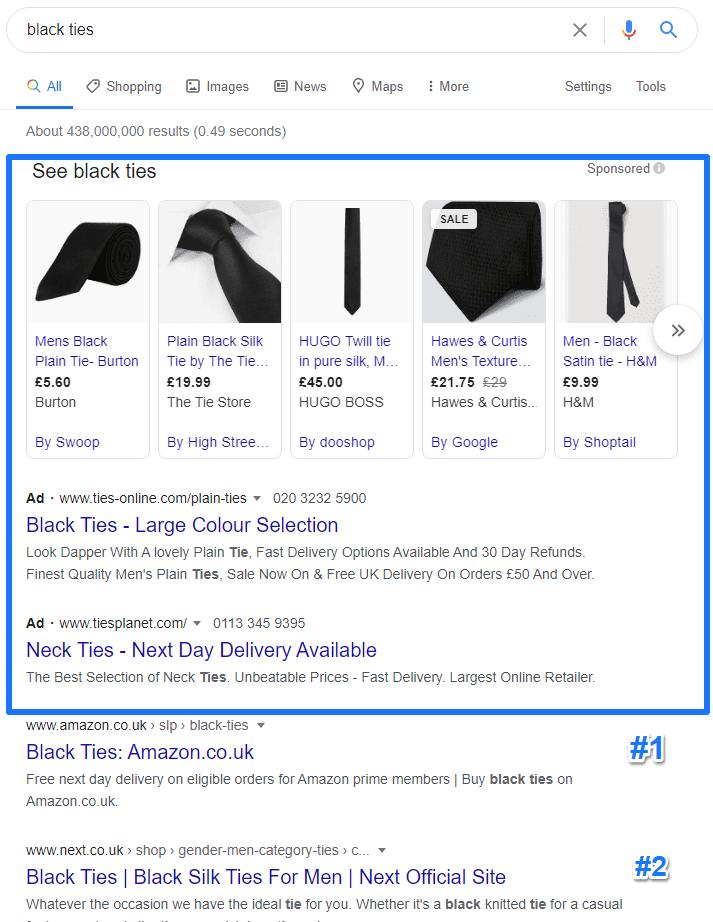 Black tie SERP features