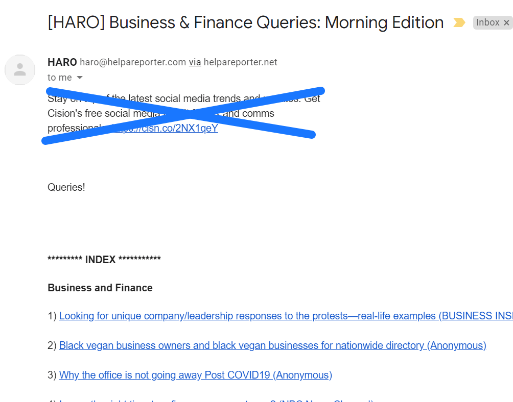 HARO email example