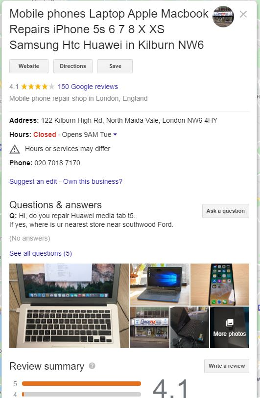 Mobile Phone repair listing