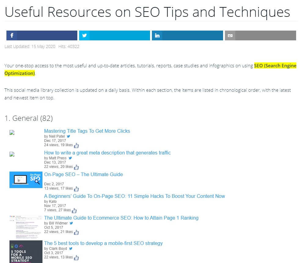 Example of SEO resource page