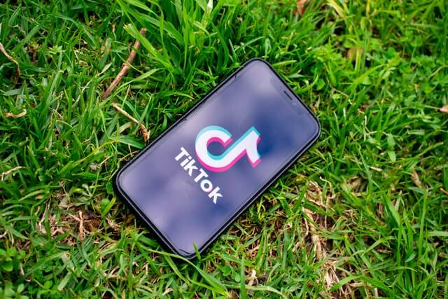 TikTok app on smartphone in grass
