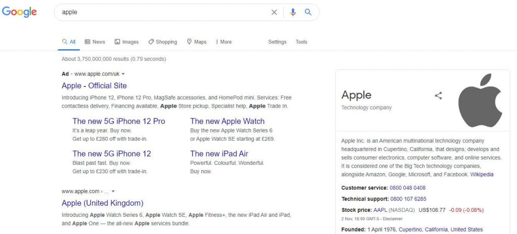 Apple SERP layout