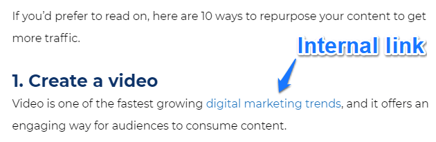 Internal link example for digital marketing trends