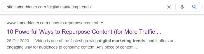 Google Site search example for digital marketing trends