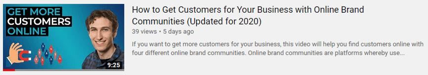 Online brand communities video 2020