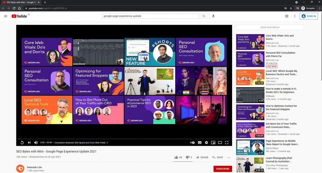YouTube video after adding keyword in tags