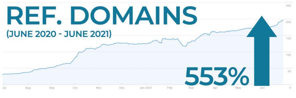 Referring domain increase YoY 553%