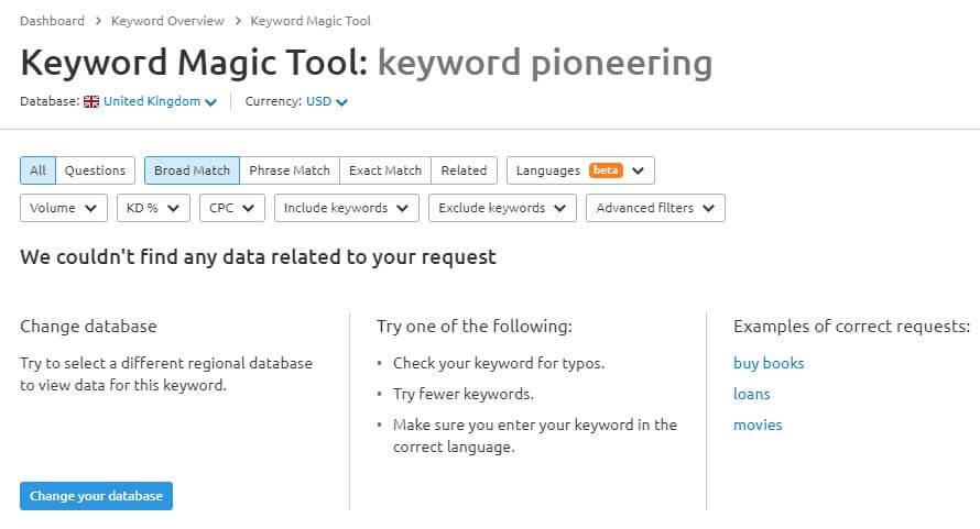Keyword Pioneering using Semrush Keyword Magic Tool